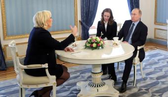 Onaangekondigde ontmoeting tussen 'partners' Poetin en Le Pen