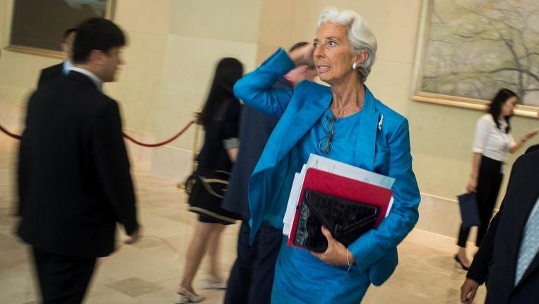 De directeur van het IMF, Christine Lagarde, was niet gelukkig met kritiek in het interne rapport. Beeld afp
