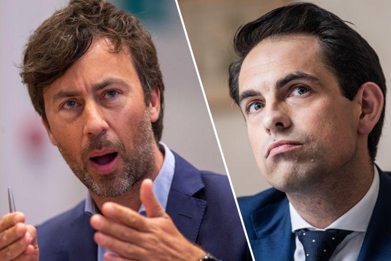 Fractieleider van Groen, Wouter De Vriendt en Tom van Grieken, voorzitter van Vlaams Belang. Beeld Belga / PhotoNews