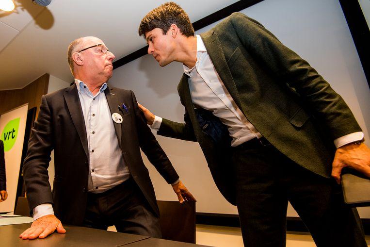 Minister Dalle en interim-CEO van de VRT Leo Hellemans. Beeld BELGA