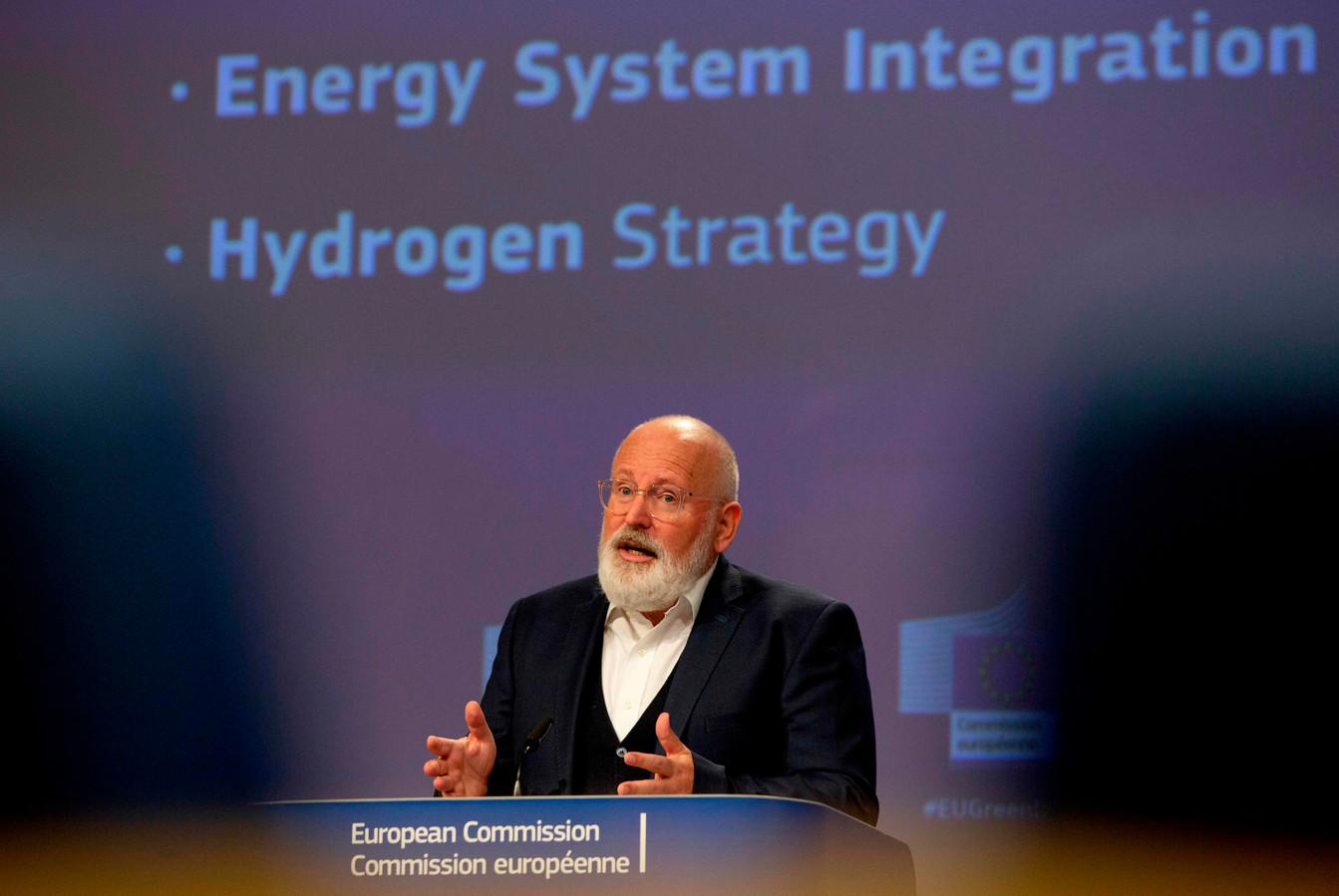 Eurocommissaris Frans Timmermans tijdens de presentatie van de Europese waterstof-strategie op 8 juli in Brussel.