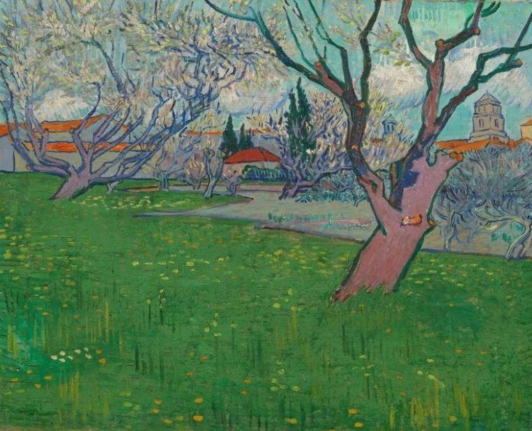 Vincent van Gogh, 'Bloeiende boomgaarden, gezicht op Arles' (1889). Beeld Van Gogh Museum, Amsterdam