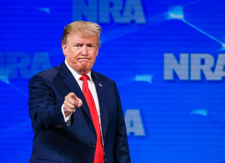 President Donald Trump tijdens een NRA-bijeenkomst in Indianapolis,  vorige week. Beeld EPA