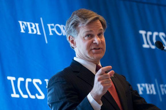 FBI-directeur Christopher Wray tijdens een toespraak op de Internationale Conferentie voor Cyberveiligheid in New York.