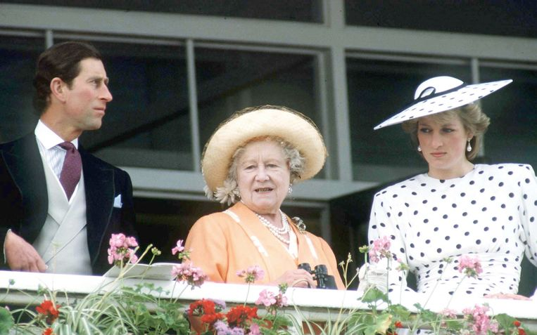 Queen Mother, Charles en Diana Beeld Getty Images