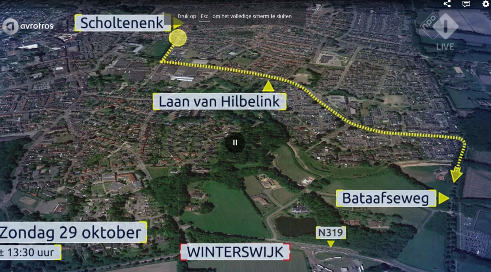 De vermoedelijke route die de dader na de aanrijding en mishandeling heeft gereden.