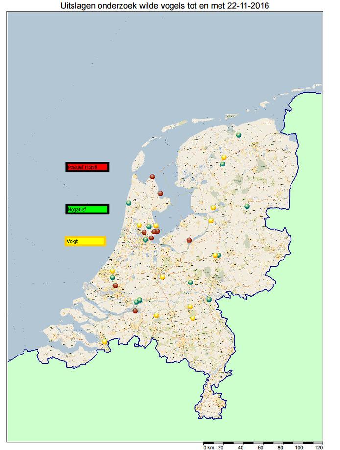 De kaart met de uitslag van het onderzoek.