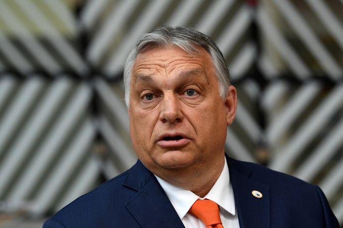 De Hongaarse premier Viktor Orbán in Brussel.