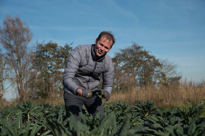Evert van Dilst aan het werk bij de biologische kwekerij Zuidbos in Noordgouwe