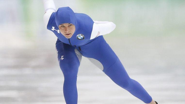 Brittany Bowe rijdt zondag naar winst op de 1000 meter. Beeld EPA