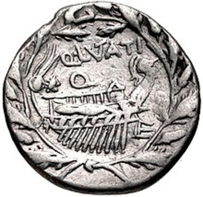 De Romeinse overwinning bij de Aegaten werd daarna vereeuwigd op de volgende munt. Er is te zien hoe een Romeins schip omgeven is door een krans van eikenbladeren.