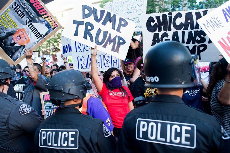 Een anti-Trump demonstratie in San Jose, Californië. Beeld ap