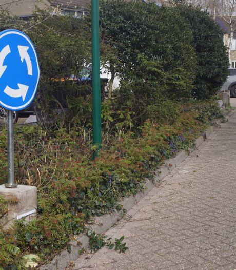 Vandalen sjouwen honderden meters met gejat verkeersbord van Bunschotense rotonde