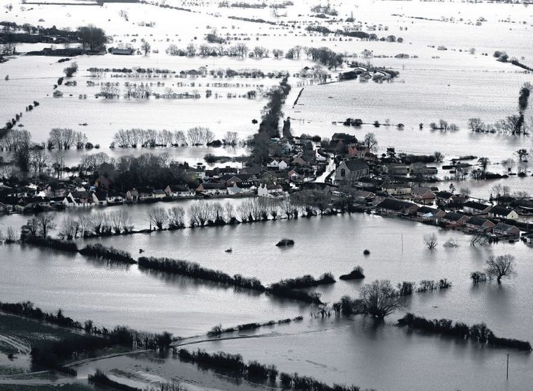 Het dorpje Moorland in het graafschap Somerset, een week geleden. Beeld getty