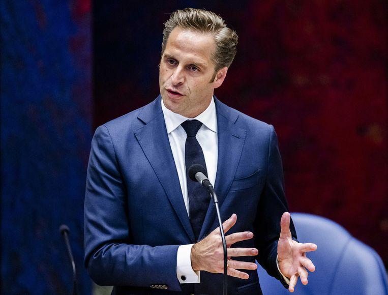 Hugo de Jonge, demissionair minister van Volksgezondheid, Welzijn en Sport, in de Tweede Kamer tijdens het debat van donderdag. Beeld ANP