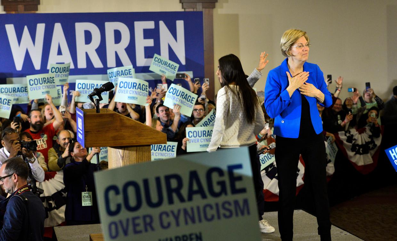 Senator en presidentskandidaat Elizabeth Warren tijdens de voorverkiezingen in Iowa, afgelopen nacht.