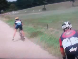 Onthutsende beelden uit Schaal Sels: ploegmaat Wiggins van fiets geblazen door laagvliegende helikopter