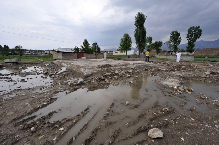 Schuilplaats waar Bin Laden bijna een jaar geleden gedood werd. Beeld AFP