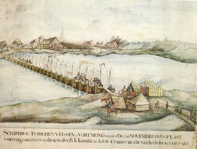 Schilderij van Berend Westenberg met de oversteek van de Kozakken van de IJssel bij Wijhe.