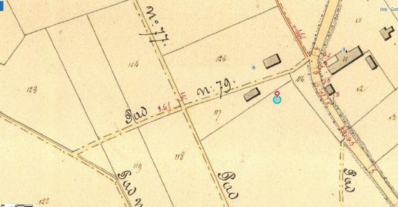 Een kaart van de trage wegen in Glabbeek, met daarop nummer 79.