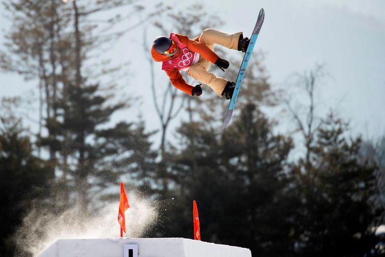 Seppe Smits tijdens de Big Air in Pyeongchang.