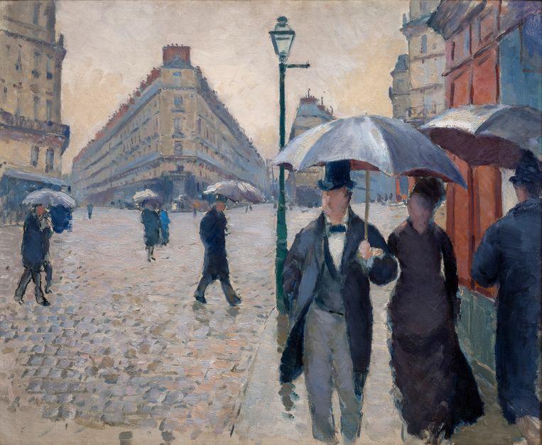 Rue de Paris, temps de pluie (1877) van Gustave Caillebotte (1848–1894). Beeld Christian Baraja