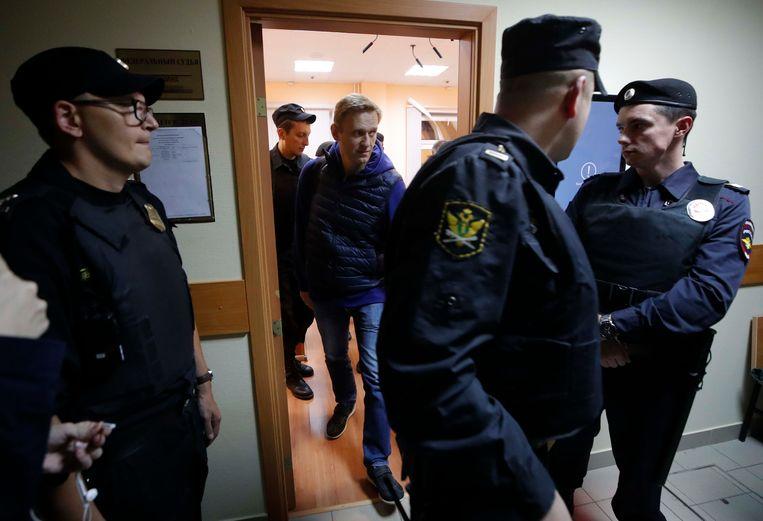 Aleksej Navalny in de rechtbank op 24 september. Beeld REUTERS
