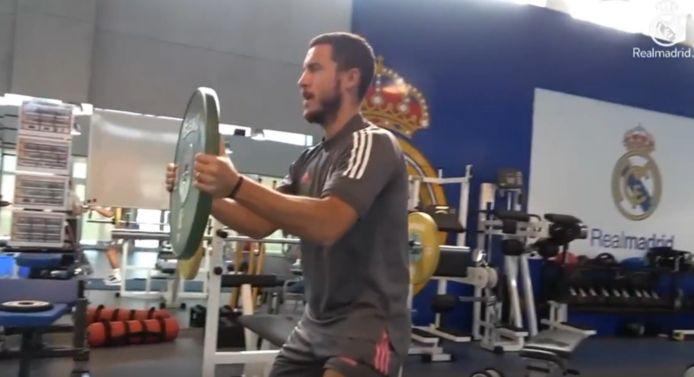 Eden Hazard in de fitness bij Real.
