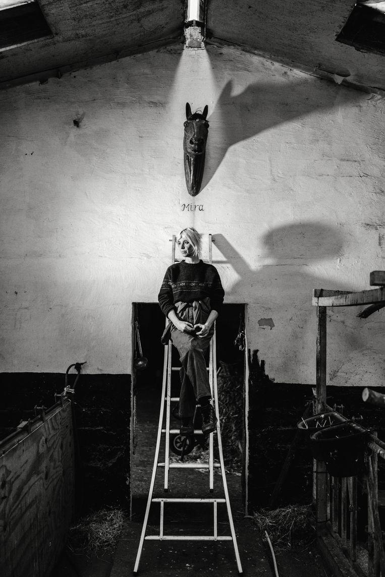 Els Pynoo beschilderde een polyester paardenhoofd zodat het dier op Mira lijkt. 'Telkens als ik de stal binnenloop, word ik aan Mira herinnerd.'  Beeld Thomas Sweertvaegher