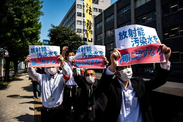 Een protest tegen het voornemen van de Japanse regering om radioactief afvalwater in zee te lozen. Beeld AFP