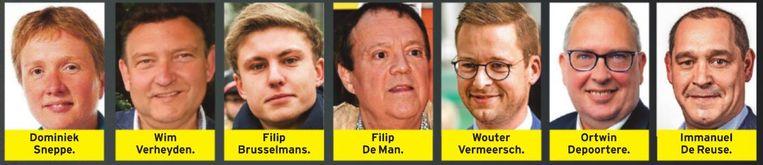 Deze 7 parlementsleden geven op Facebook te kennen dat ze homo's niet mogen. Beeld rv