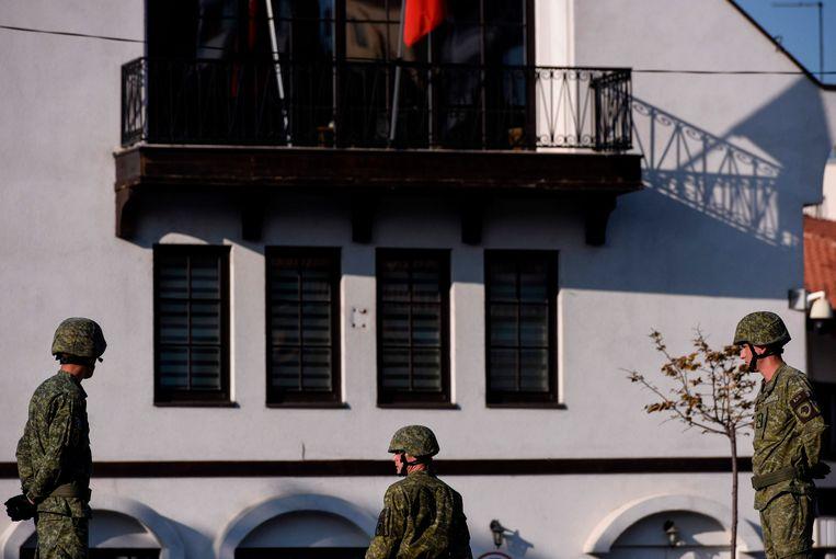 In juni van dit jaar pakte de Kosovaarse politie vijf terreurverdachten op. Beeld AFP