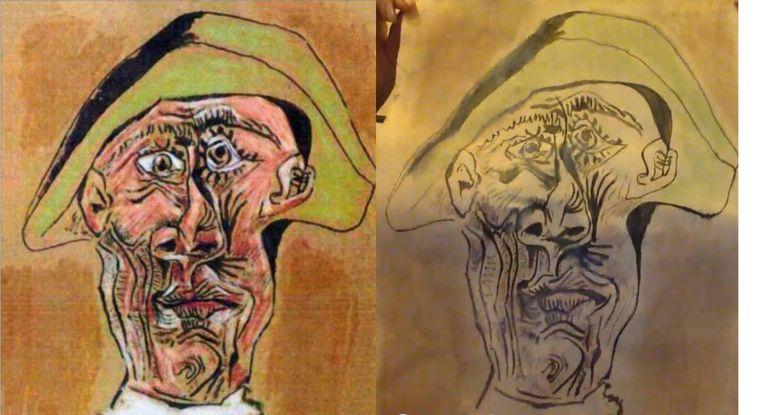 Het doek Tête d'Arlequin, het uit de Kunsthal in Rotterdam geroofde werk van Pablo Picasso. Links het origineel, rechts het in Roemenië gevonden werk. Beeld