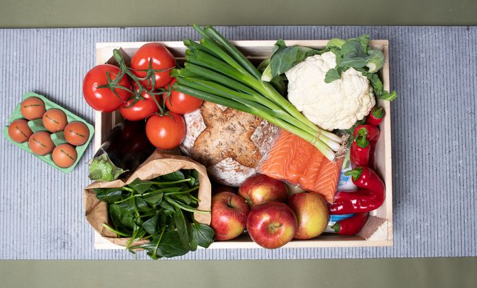 Boerschappenbox met regionale producten.