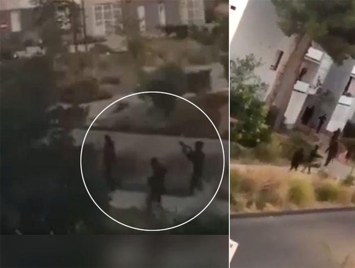 Zaterdagavond stapten tussen de tien en vijftien gewapenden personen met donkere hoodies uit voertuigen en zaaiden chaos.