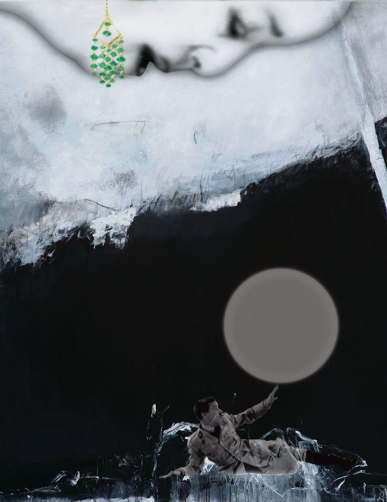 Projectie met geluid, olieverf, acryl en potlood op doek van Farideh Lashai. Beeld rv MSK