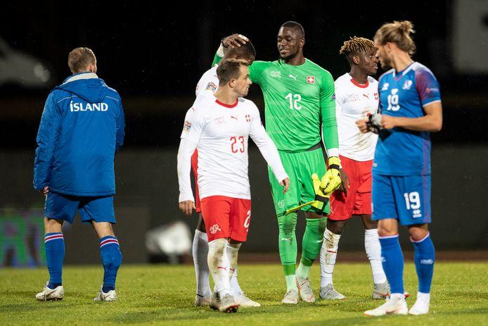 Yvon Mvogo na een interland met Zwitserland tegen IJsland, in oktober 2018.