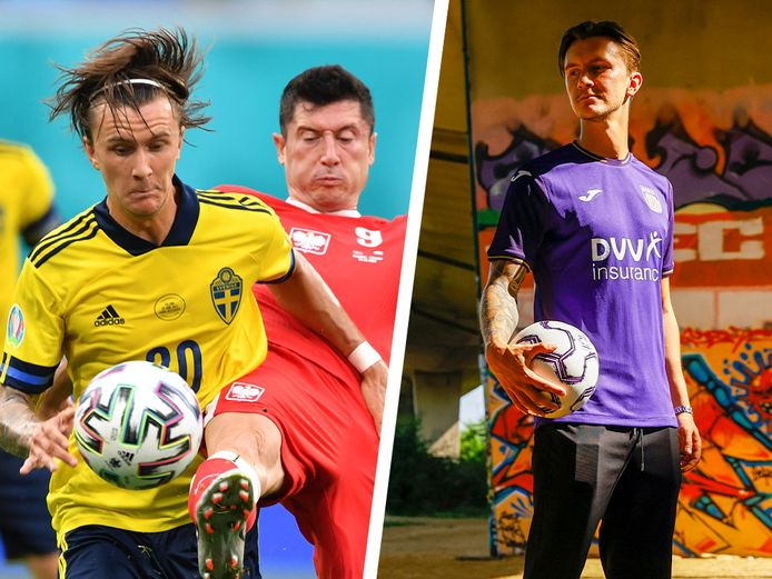 Olsson in actie voor Zweden en in het shirt van RSCA.