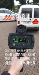 Uit lasercontrole door de politie bleek deze MMBS niet 25 maar 117 te rijden. Het voertuig werd in beslag genomen.