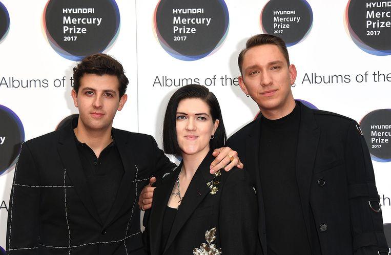 Jamie Smith, Romy Madley Croft en Oliver Sim van The xx, gisteren op de Mercury Prize Beeld getty