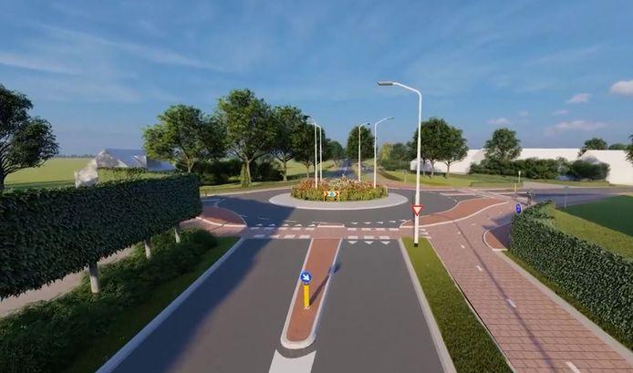 Zo komt de rotonde bij het voormalige gemeentehuis in Kerkwijk er uit te zien. Het verbrede fietspad krijgt bovendien een kleurtje.