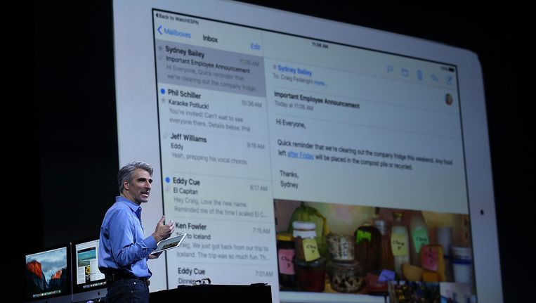 Craig Federighi over de nieuwigheden voor de iPad. Beeld GETTY