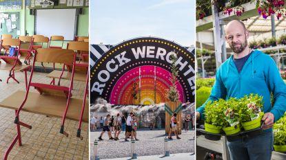 OVERZICHT. Beperkt bezoek toegelaten in rusthuizen, scholen nog niet open, grote zomerfestivals afgelast, tuincentra weer open