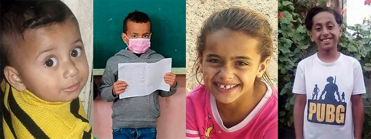 Yazan, Marwan, Rahaf en Ibrahim al-Masri, drie neefjes en een nicht, werden gedood in Beit Hanoun, Gaza. Beeld NYT