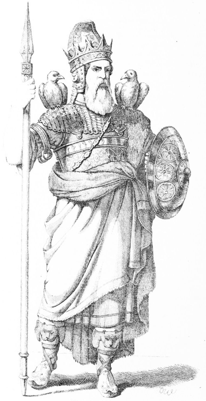 Odin. Uit: Den Skandinavska Nordens Historia. Beeld Wikimedia