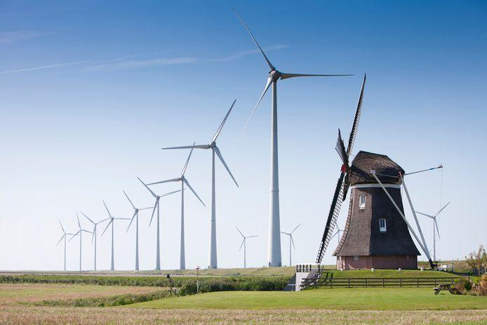 Een windmolenpark vlakbij Eemshaven