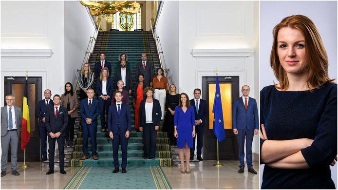 De regering. Rechts Astrid Roelandt.