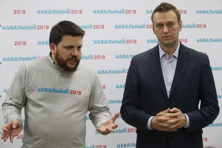 Archiefbeeld uit 2018: Leonid Volkov (links) is de stafchef van Aleksej Navalny.  Beeld TASS via Getty Images