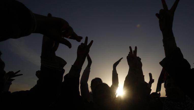Protest in Tobruk, ten oosten van Tripoli, eerder deze week. Beeld reuters