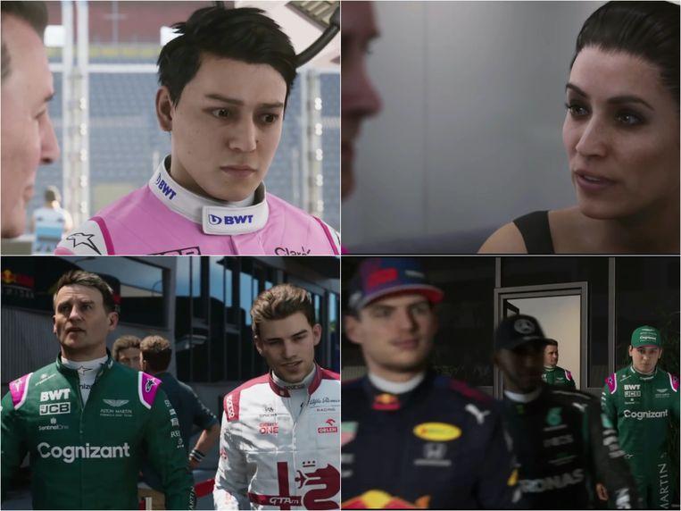 Scenes uit Braking Point, de Formule 1-soap opera. Met een cameo van Max Verstappen (rechtsonder). Beeld Codemasters